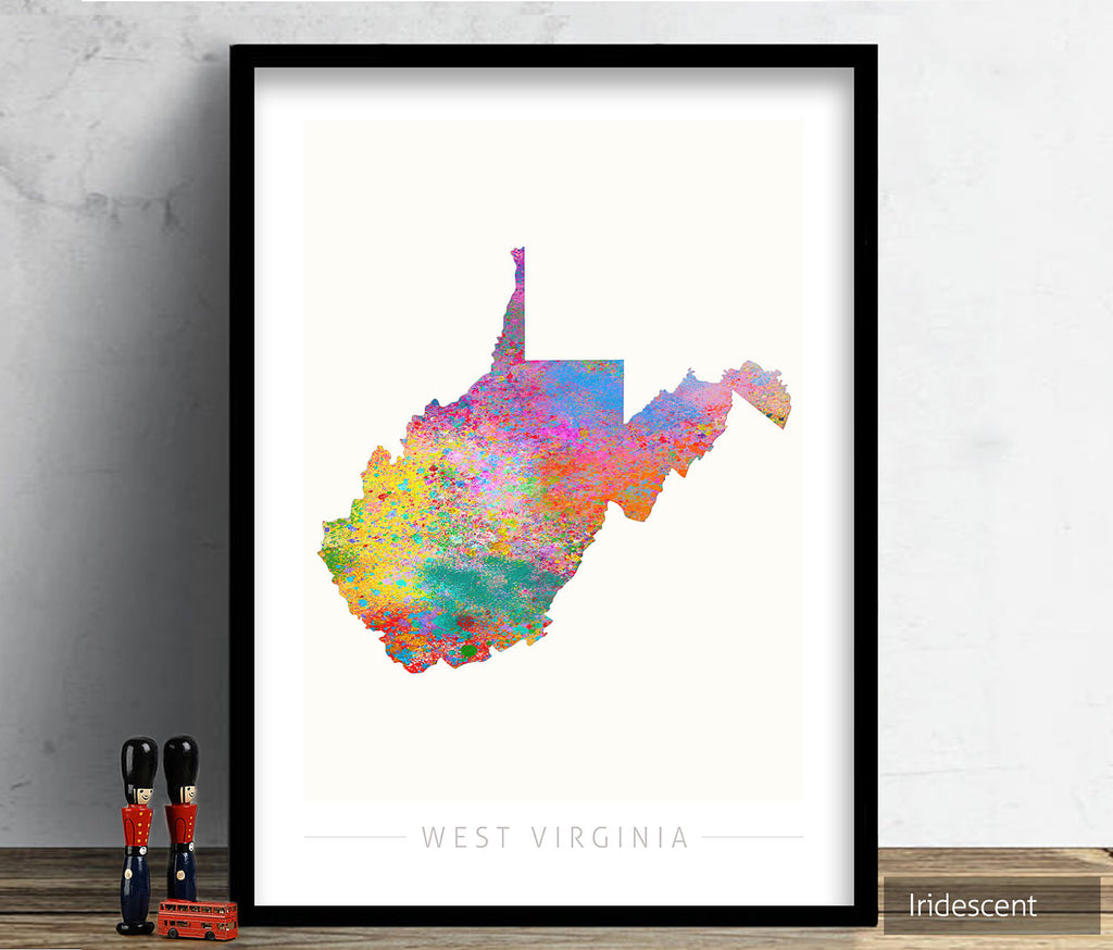 West Virginia Map: State Map of West Virginia - Sunset Series Art Print