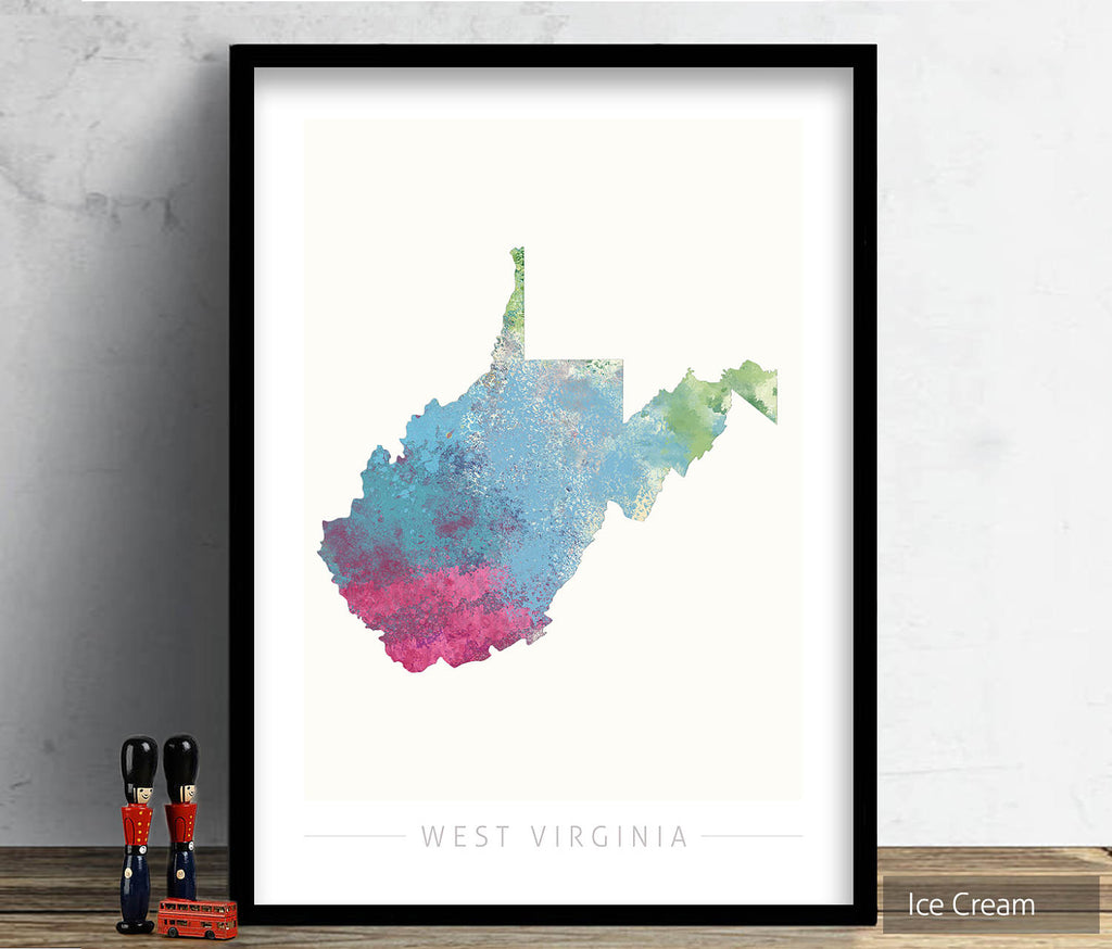 West Virginia Map: State Map of West Virginia - Nature Series Art Print