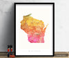 Wisconsin Map: State Map of Wisconsin - Sunset Series Art Print