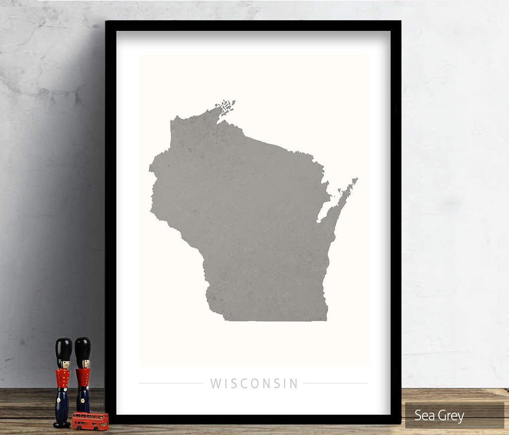 Wisconsin Map: State Map of Wisconsin - Colour Series Art Print
