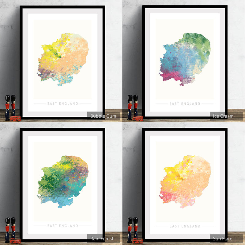 East England Map: County Map of East England - Nature Series Art Print