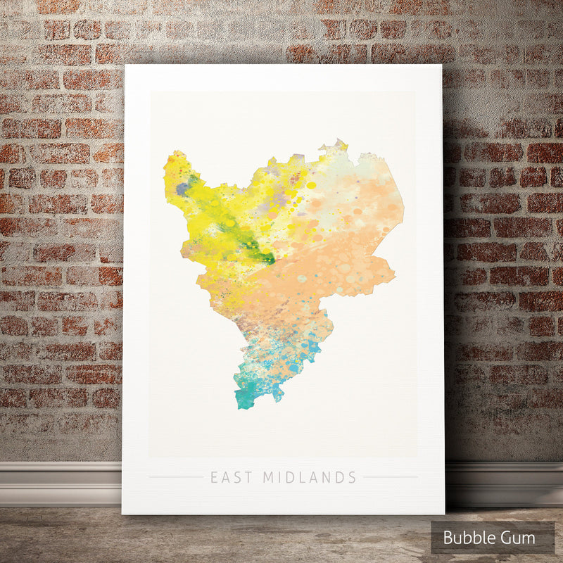 East Midlands Map: County Map of East Midlands - Nature Series Art Print