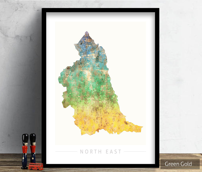 North East Map: County Map of North East England - Sunset Series Art Print
