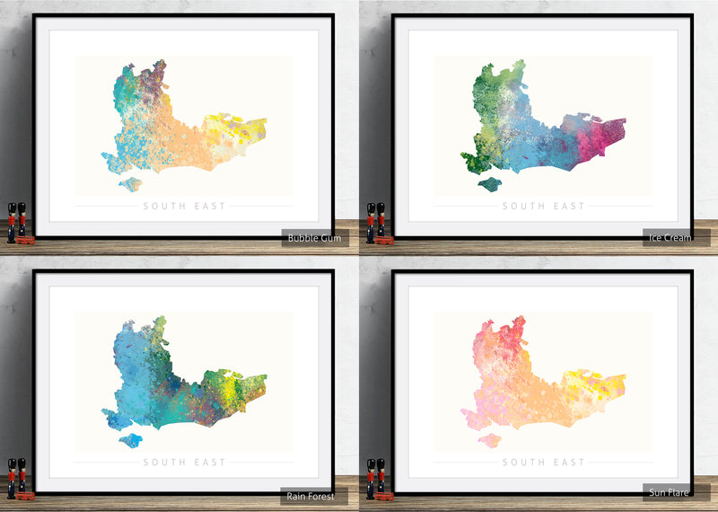 South East Map: County Map of South East England - Nature Series Art Print