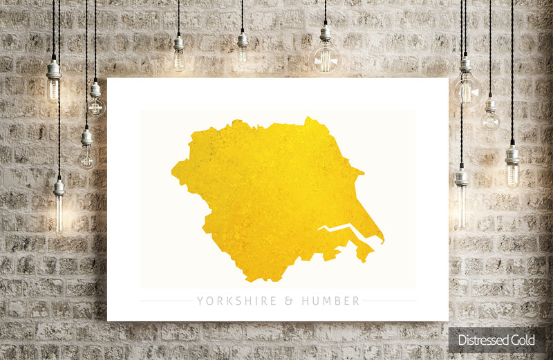 Yorkshire & Humber Map: County Map of Yorkshire and Humber - Colour Series Art Print