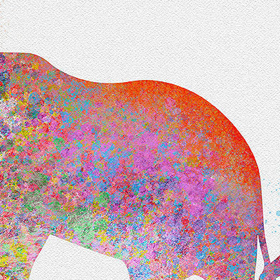 Elephant & Mother: Watercolour Print For Nursery, Home Decor - Spash Art Series
