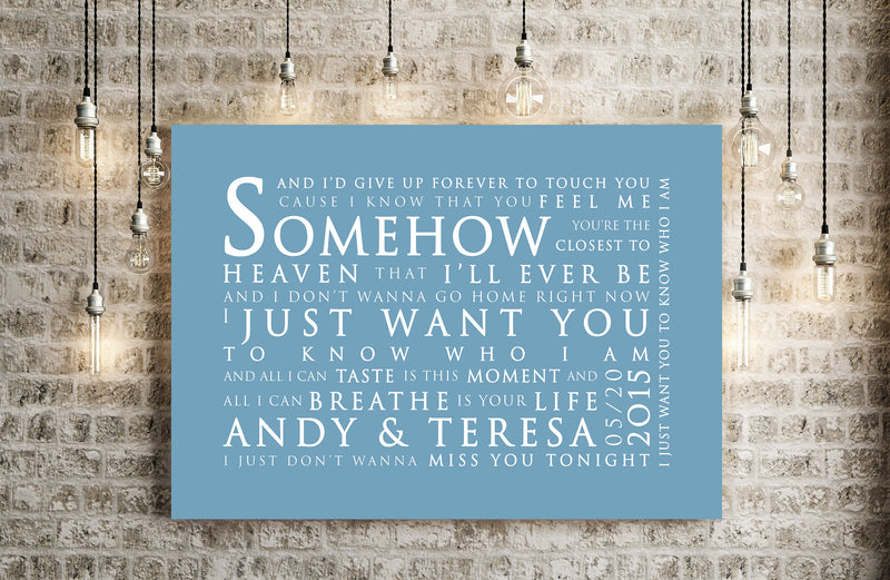 Iris Goo Goo Dolls Inspired Lyric Art: Personalised Typography Print