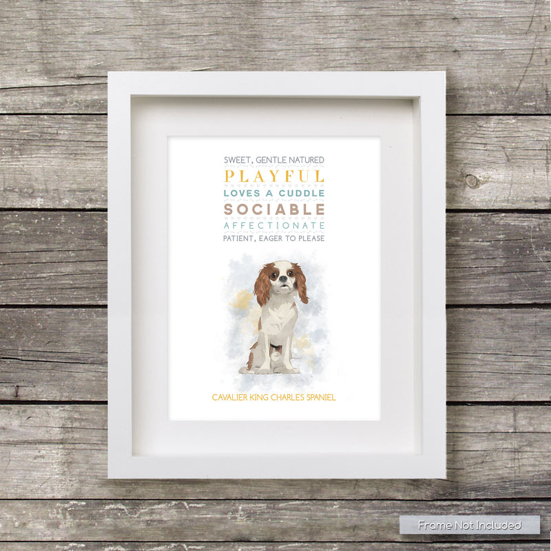 CAVALIER King Charles DOG: Trait Print - Breed Poster Dog Print Spaniel - for Pet Lovers Archival Art PRINT
