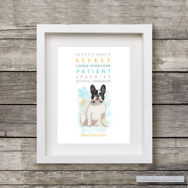 FRENCH BULLDOG: Trait Print - Breed Personality Frenchie Poster Dog Print - for Pet Lovers Archival Watercolour Art PRINT