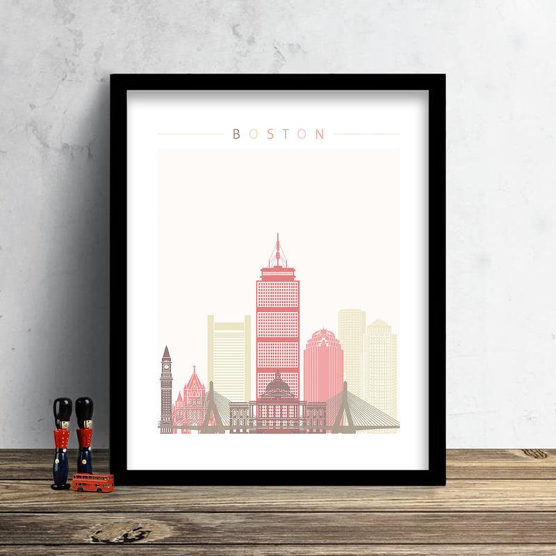 Boston Skyline: Cityscape Art Print, Home Décor - Summer Theme