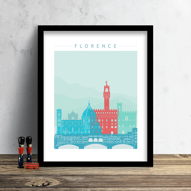 Florence Skyline: Cityscape Art Print, Home Décor - Winter Theme