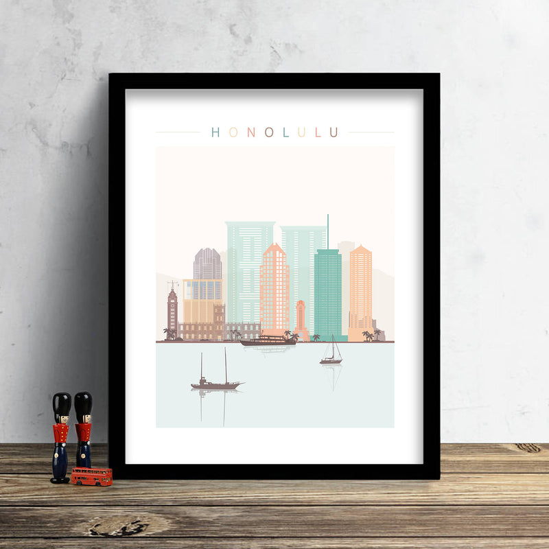 Honolulu Skyline: Cityscape Art Print, Home Decor