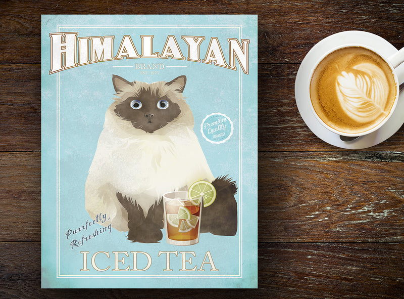 HIMALAYAN CAT: Iced Tea Brand Vintage Sign - for Pet Lovers Archival Art PRINT