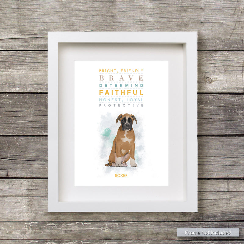 BOXER Dog: Trait Print - Breed Personality  - Gift Pet Lovers Art Print