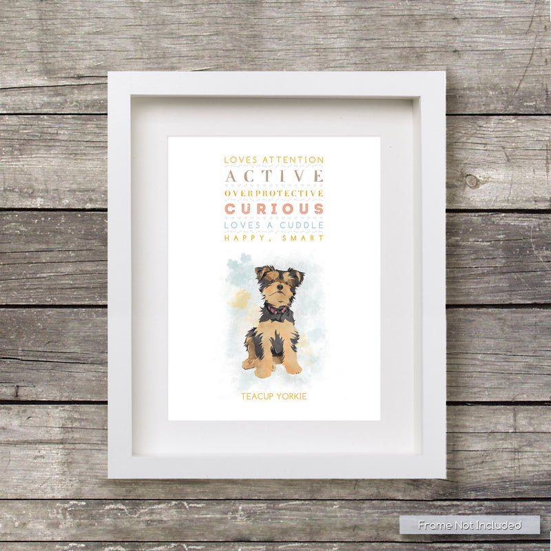 TEACUP YORKIE Dog: Trait Print - Breed Personality  - Gift Pet Lovers Art Print