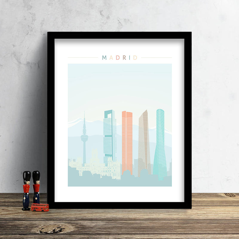Madrid Skyline: Cityscape Art Print, Home Decor