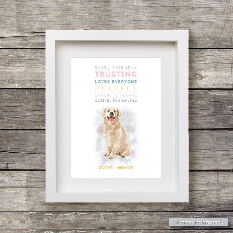 GOLDEN LABRADOR Dog: Trait Print - Breed Personality  - Gift Pet Lovers Art Print