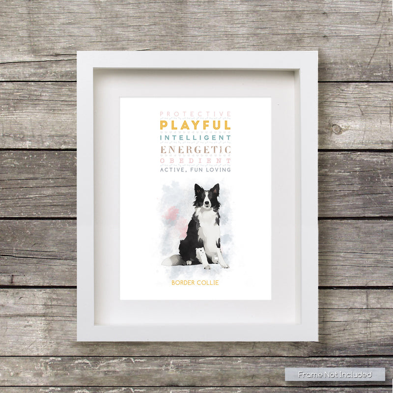 BORDER COLLIE Dog: Trait Print - Breed Personality  - Gift Pet Lovers Art Print