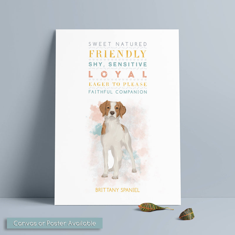 BRITTANY SPANIEL Dog: Trait Print - Breed Personality  - Gift Pet Lovers Art Print
