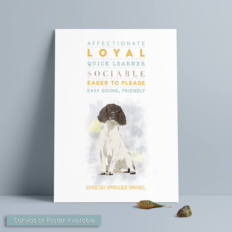 ENGLISH SPRINGER SPANIEL Dog: Trait Print - Breed Personality  - Gift Pet Lovers Art Print