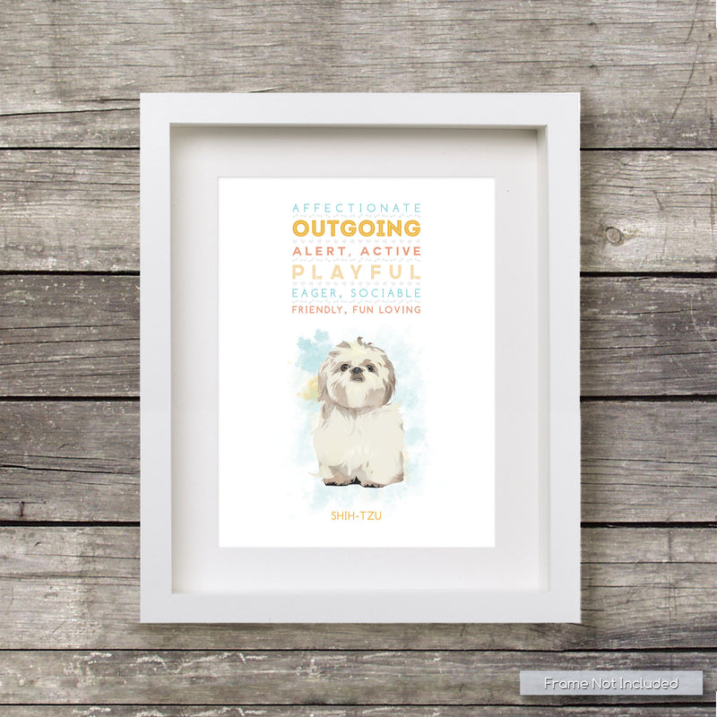 SHIH-TZU Dog: Trait Print - Breed Personality  - Gift Pet Lovers Art Print