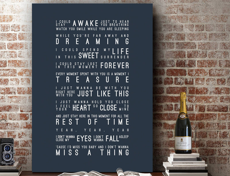 Aerosmith I Don't Want To Miss A Thing Inspired Lyrics Typography Print