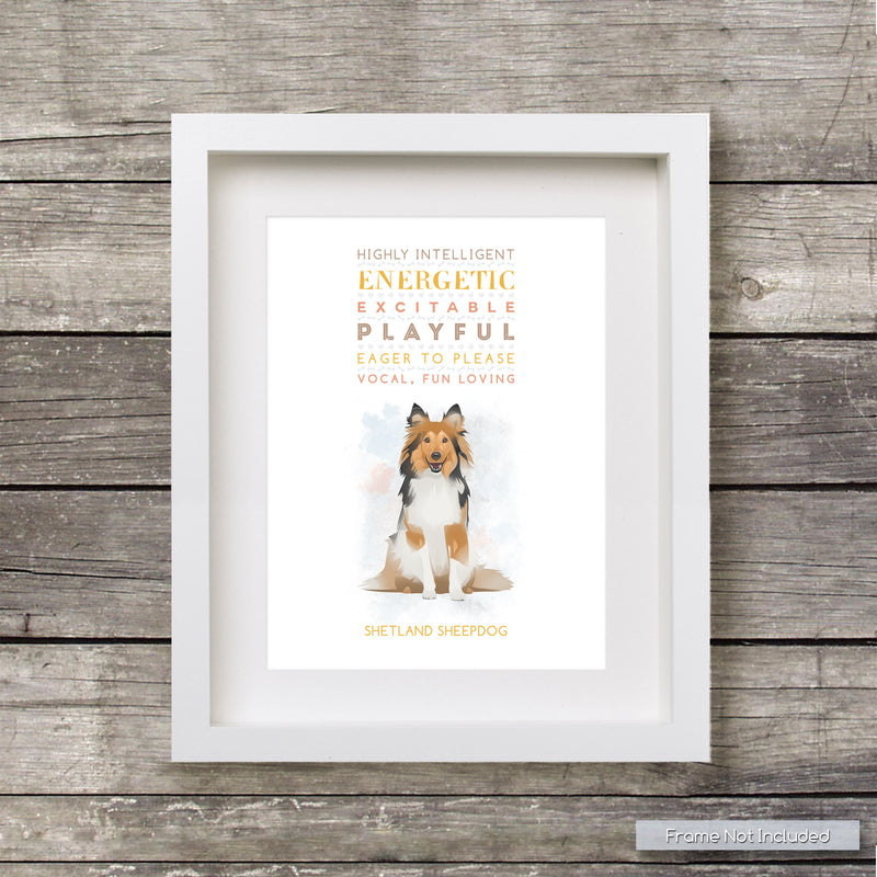 SHETLAND SHEEPDog: Trait Print - Breed Personality  - Gift Pet Lovers Art Print