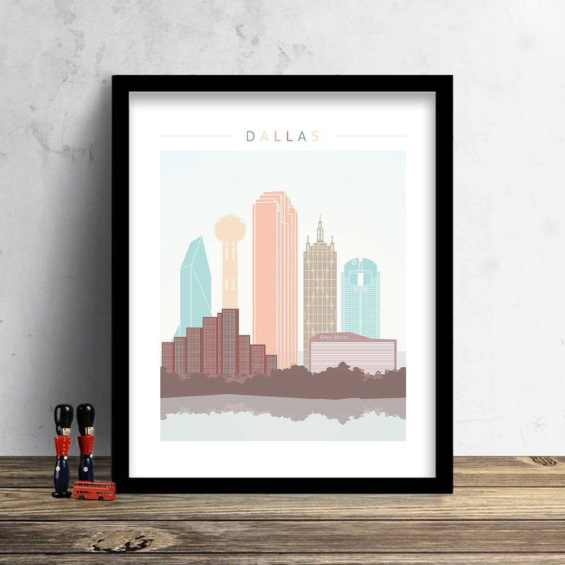 Dallas Skyline: Cityscape Art Print, Home Décor