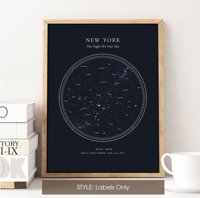 Personalised Star Map Print, Night Sky Print, Star Chart Poster or Canvas - Anniversary Gift - DEEP BLUE CIRCULAR