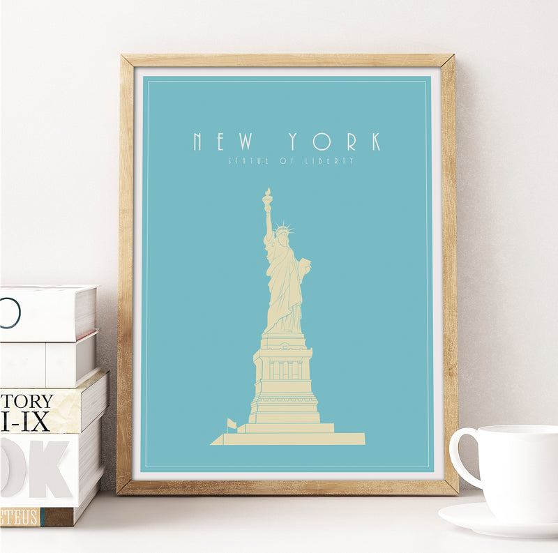 New York, Statue of Liberty: Travel Poster, World Landmarks Print