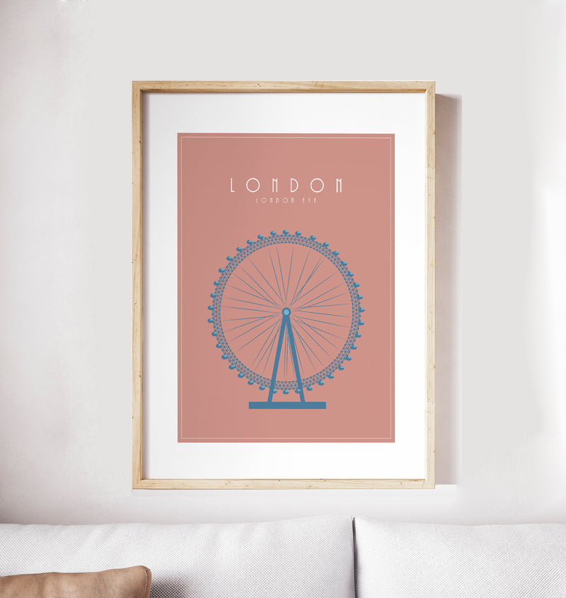 London, London Eye: Travel Poster, World Landmarks Print
