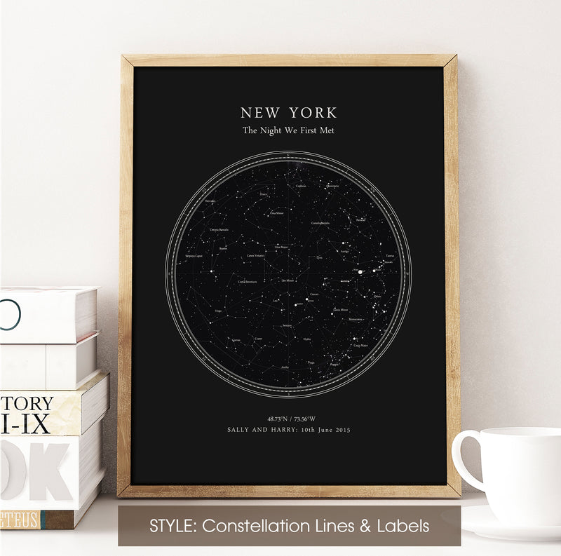 Custom Star Map Print, Night Sky Print, Star Chart Poster or Canvas - Anniversary Gift - DEEP BLACK CIRCULAR