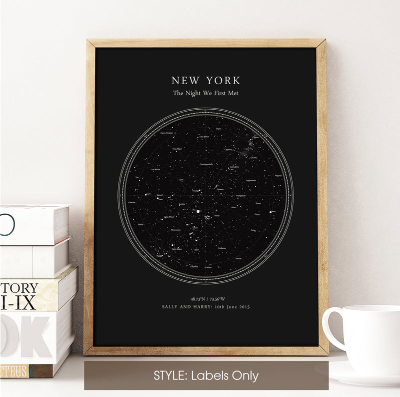 Personalised Star Map Print, Night Sky Print, Star Chart Poster or Canvas - Anniversary Gift - DEEP BLACK CIRCULAR