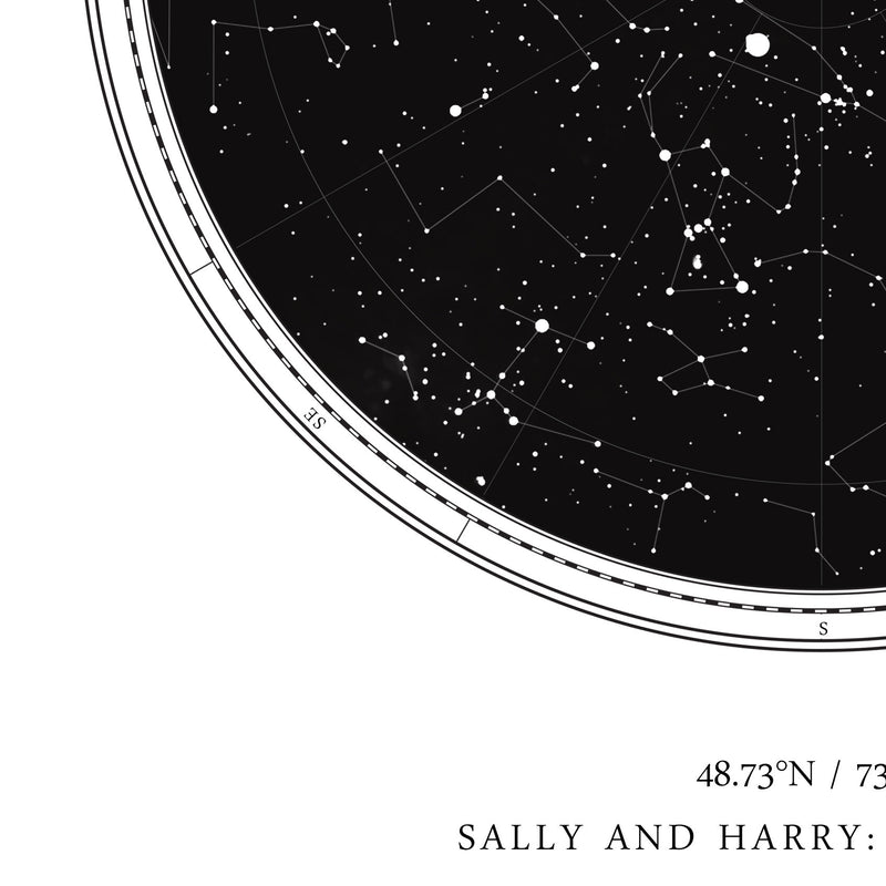 Custom Star Map Print, Night Sky Print, Star Chart Poster or Canvas - Anniversary Gift - WHITE CIRCULAR