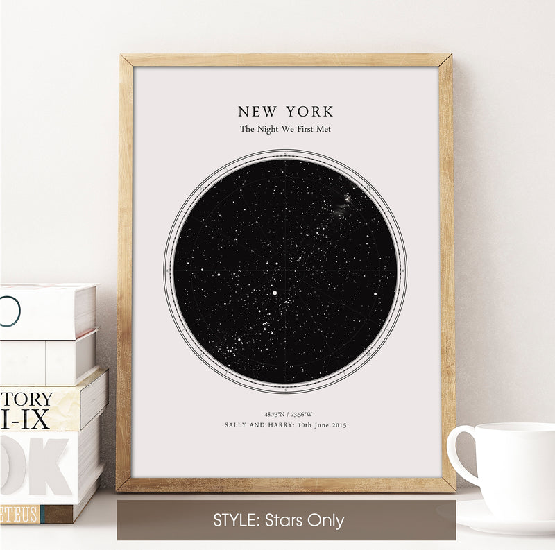 Personalised Star Map Print, Night Sky Print, Star Chart Poster or Canvas - Anniversary Gift - WHITE CIRCULAR