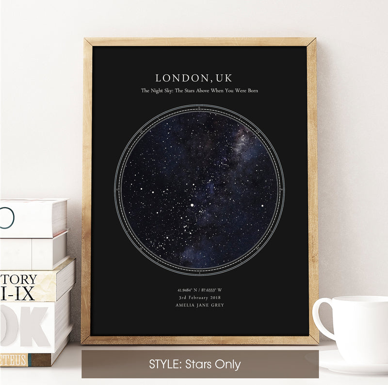 Personalised Star Map Print, Night Sky Print, Star Chart Poster or Canvas - Anniversary Gift - HDR BLACK CIRCULAR