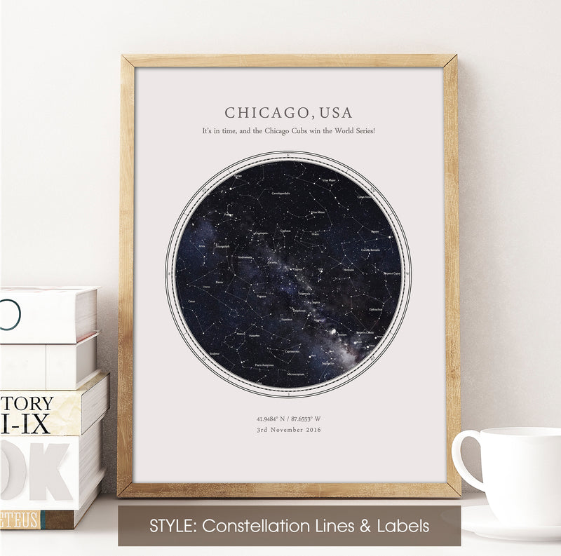 Custom Star Map Print, Night Sky Print, Star Chart Poster or Canvas - Anniversary Gift - HDR WHITE CIRCULAR