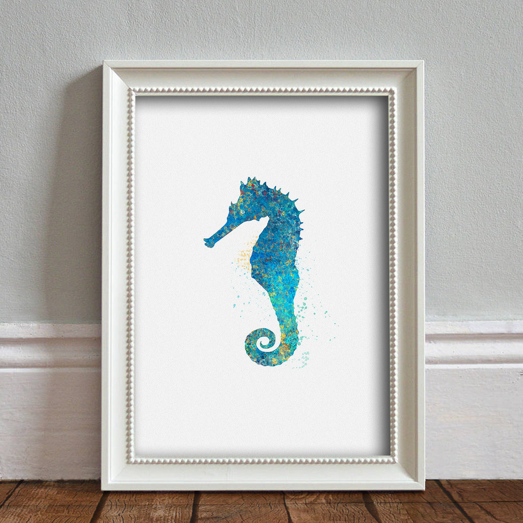 Seahorse Sea Animal, Nautical: Watercolour Print For Nursery, Home Decor - Splash Art Series