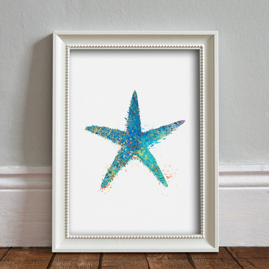Starfish Sea Animal, Naughtical: Watercolour Print For Nursery, Home Decor - Splash Art Series