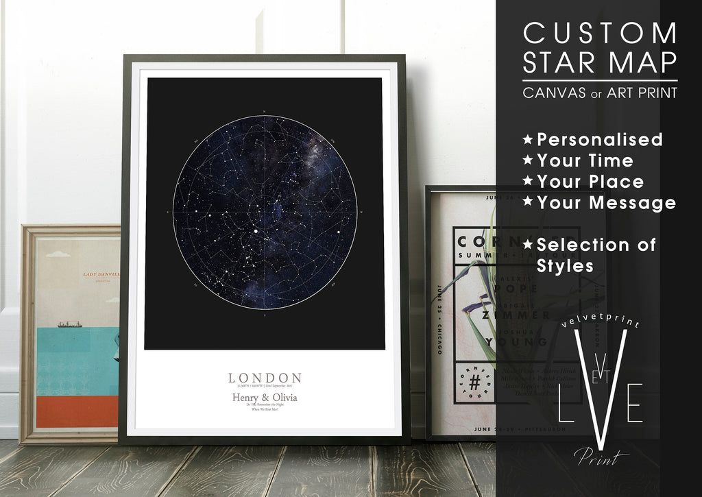 Personalised Star Map Print, Night Sky Print, Star Chart Poster or Canvas - Anniversary Gift - HDR BLACK SQUARE