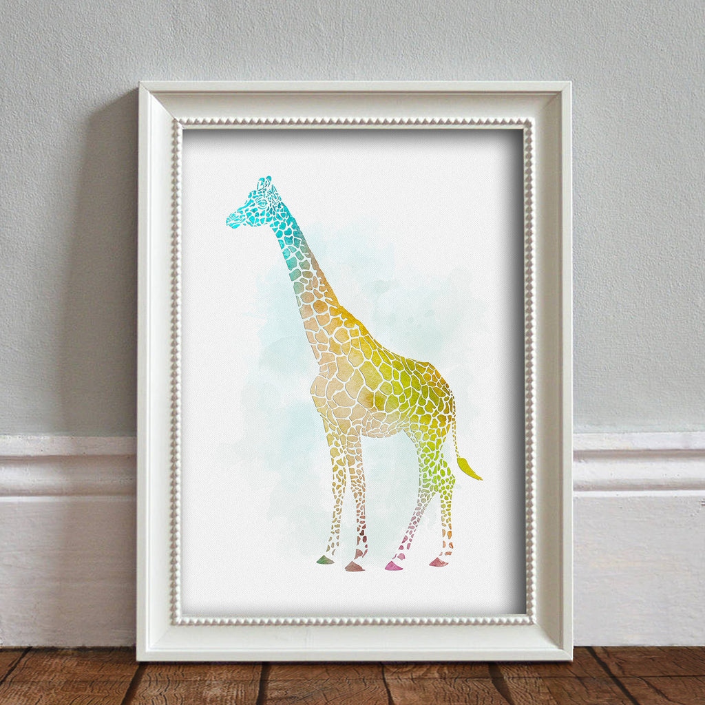 Giraffe: Watercolour Print For Nursery, Home Décor - Africa Animal Illustration Series
