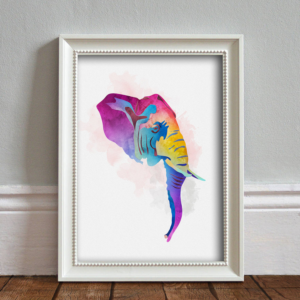 Elephant Head: Watercolour Print For Nursery, Home Décor - Africa Animal Illustration Series
