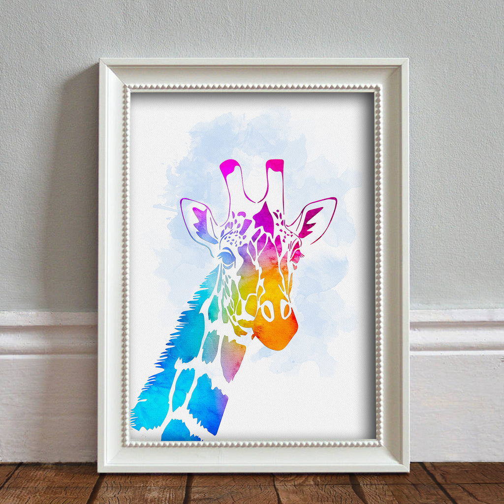 Giraffe Head: Watercolour Print For Nursery, Home Décor - Africa Animal Illustration Series