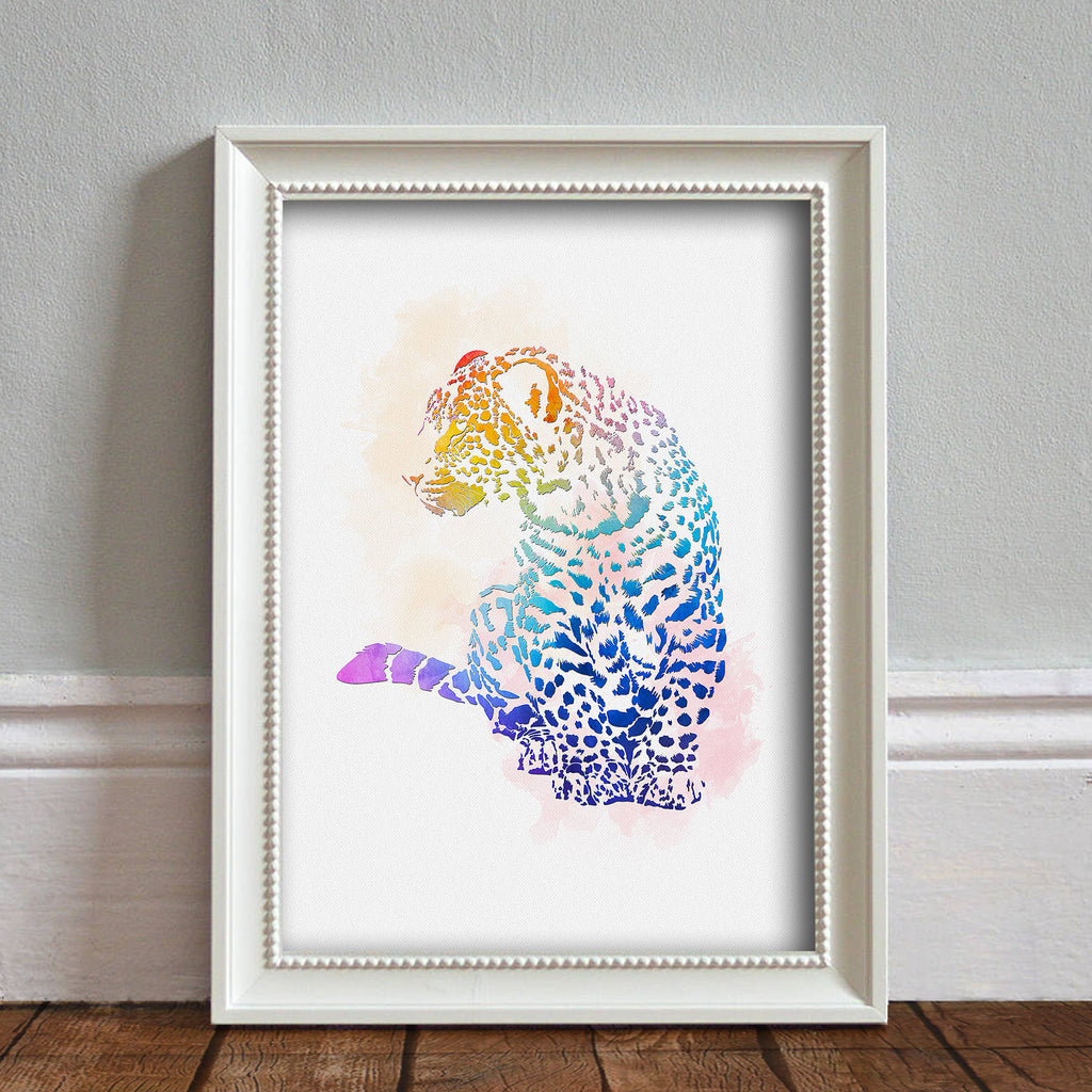 Leopard: Watercolour Print For Nursery, Home Décor - Africa Animal Illustration Series