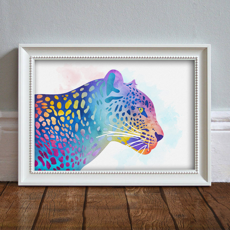 Leopard Head: Watercolour Print For Nursery, Home Decor - Africa Animal Illustration Series