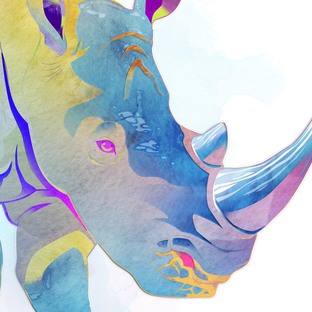 Rhinoceros: Watercolour Print For Nursery, Home Decor - Africa Animal Illustration Series