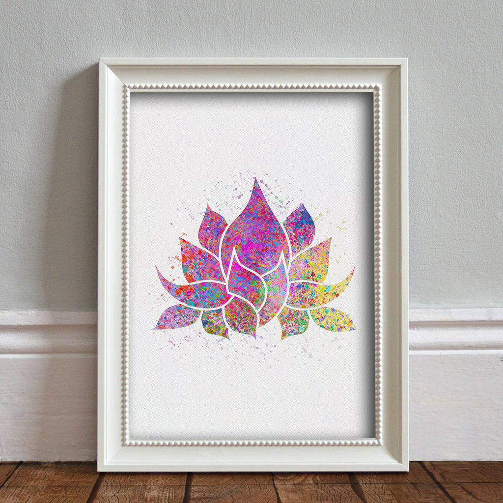 Lotus Flower, Yoga Symbol: Watercolour Print For Nursery, Home Decor - Spiritual Series