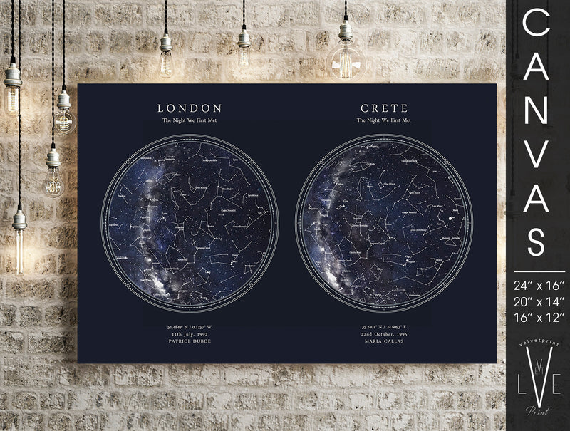 Personalised DOUBLE Star Map Print, Night Sky Print, Star Chart Poster or Canvas - Anniversary Gift for Men, Gift for Women - HDR Blue Circle