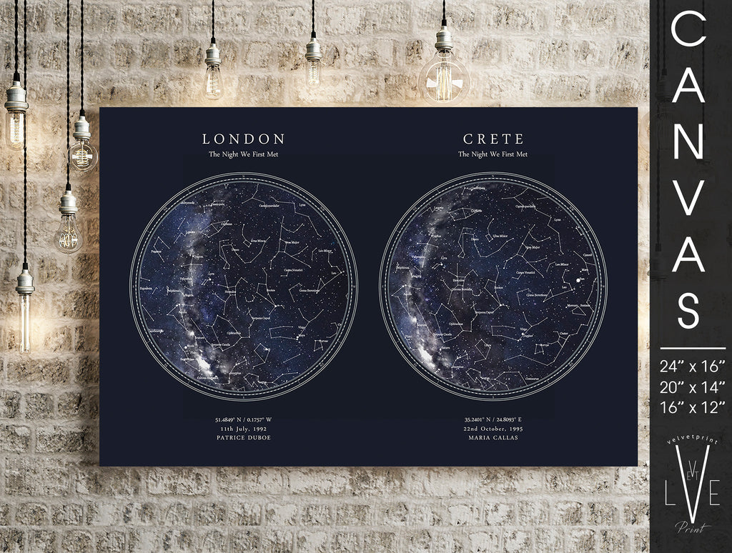 Custom DOUBLE Star Map Print, Night Sky Print, Star Chart, 2 in 1 Poster or Canvas - HDR Blue Circle
