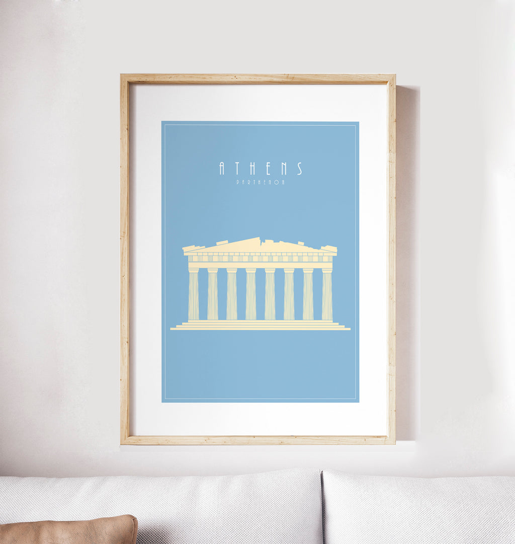 Athens, Parthenon, Acropolis in Greece: Travel Poster, World Landmarks Print